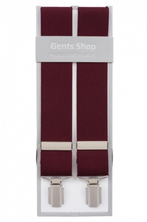 Plain Wine Mens Elastic Trouser Braces With Silver Coloured Feather Edged Clips - Available In 3 Sizes